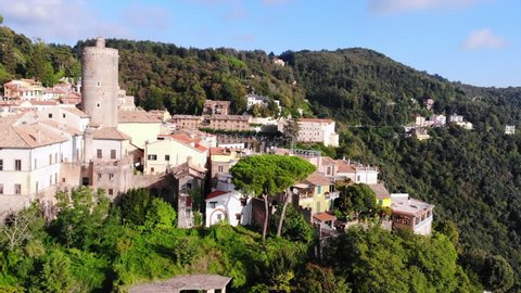 Aerial view of the small city in Italy. Nemi ancient city. Situated near the old volcano. One of the famous tourist destinations in Lazio near a Rome.