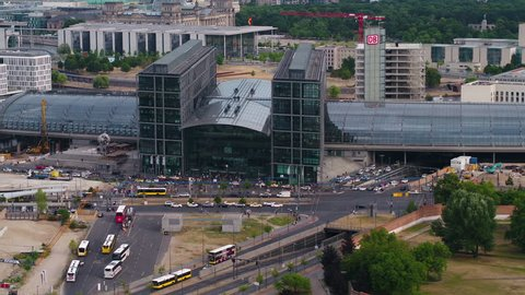 Aerial Germany Berlin June 2018 Sunny Day  Aerial video of downtown Berlin in Germany on a sunny day with a zoom lens.