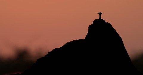 Sugarloaf Mountain Rio de Janeiro Brasil Silhouette at Sunrise Timelapse
