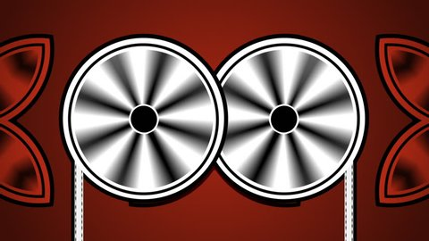 Two film / movie reels spin side by side in stylized animation