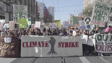San Francisco, California / Usa - March 15 2019: On strike for better future,  initiated by Greta Thunberg.  March on Market St