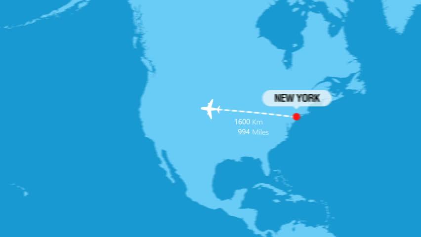 New York to Tokyo Flight Travel Route | Shutterstock HD Video #1025901851