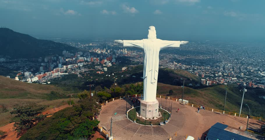Christ the King monument, aerial shot, Cali Colombia. | Shutterstock HD Video #1025921411
