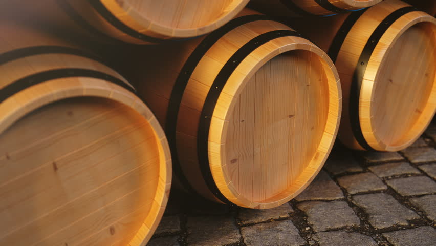Wine or Whiskey in vaults. Barrel in the basement. Wine, beer, Whiskey barrels stacked at the warehouse. Looped animation. 3D animation | Shutterstock HD Video #1025935751