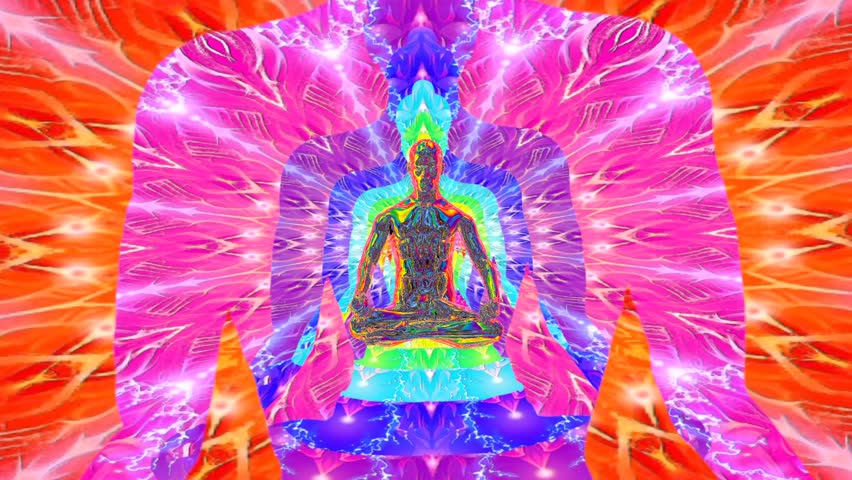 3d animation. Buddha in a meditative pose flies into the depths of his awareness through the rainbow body | Shutterstock HD Video #1025937401