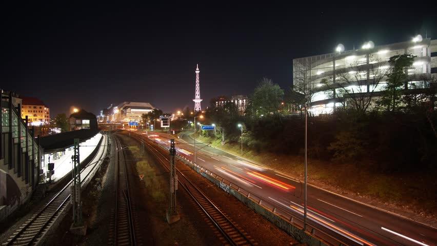 Time Lapse Berlin ICC Funkturm at Night traffic long exposure motion blur
