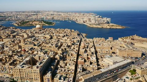 Aerial view of Valletta, Sliema, Manoel island. Capital of Malta country. Morning. Mediterranean sea
