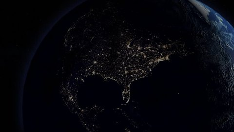 Power is returned after a continental power outage as seen from space. North America version.