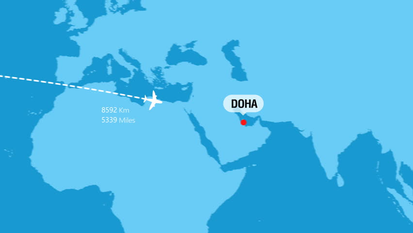 New York to Doha Flight Travel Route
