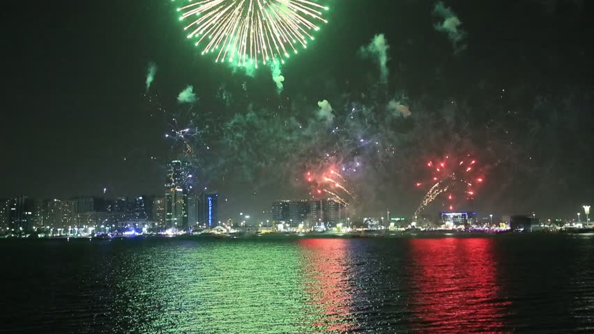 Fireworks lighting up the sky as part of Mother of the Nation Festival celebrations in Abu Dhabi, UAE | Shutterstock HD Video #1026043421