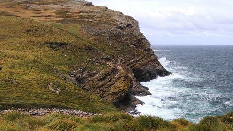 Waves crashing in to a coastline. Shot at West point Island, Falkland Islands.