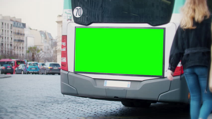 Green key screen, street bilboard advert on the back of a bus | Shutterstock HD Video #1026049961