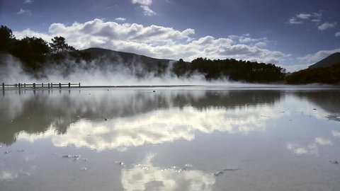 Thermal lake Champagne Pool at Wai-O-Tapu near Rotorua, New Zealand. The travel attraction in Rotorua, New Zealand.