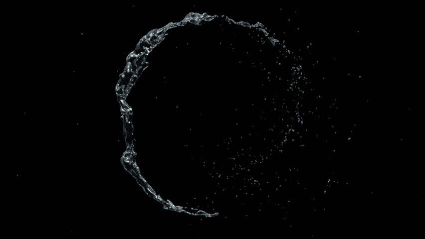 Water circle looping with reflections on black background, Water Splash Spinning flow, Liquid Wave shape from crystal nature water and bubble drop. Alpha matte, slow motion, rapid, seamless loop, cg.  | Shutterstock HD Video #1026148931