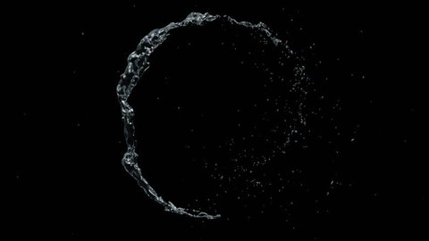 Water circle looping with reflections on black background, Water Splash Spinning flow, Liquid Wave shape from crystal nature water and bubble drop. Alpha matte, slow motion, rapid, seamless loop, cg.