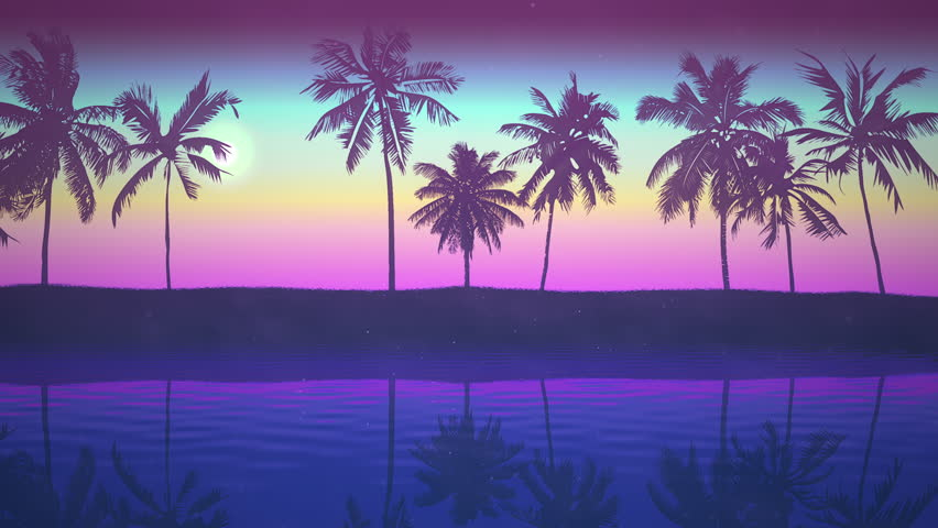 Panoramic view of tropical landscape with palm trees and sunset, summer background. Elegant and luxury dynamic 80s, 90s retro style animation footage | Shutterstock HD Video #1026151961