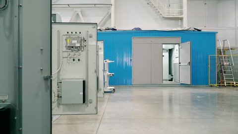 Modular electrical substation with microprocessor control. Entrance door.