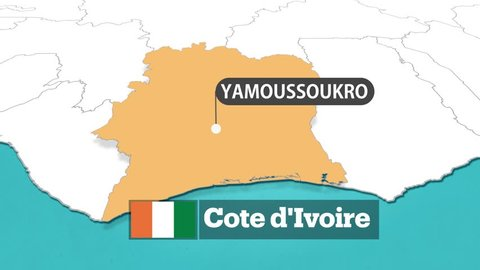 Ivory Coast map with flag