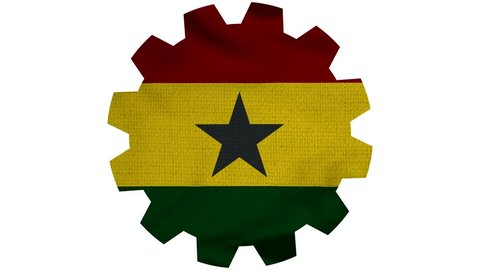 Ghana Gear Flag Loop - Realistic 3D Illustration 4K - 60 fps flag of the Ghana - waving in the wind. Seamless loop with highly detailed fabric texture. Loop ready in 4k resolution