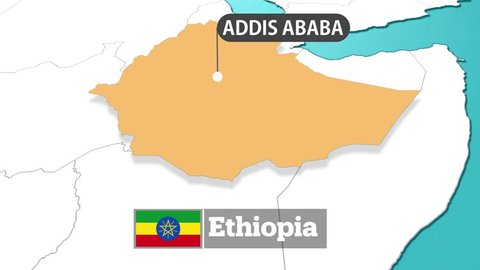 Ethiopia map with flag