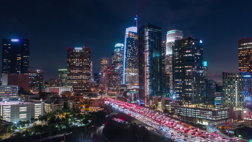 Cinematic city aerial drone timelapse of downtown los angeles at night with traffic   Shutterstock HD Video #1026199781