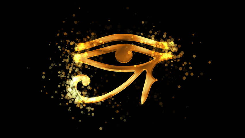 Golden Eye of Ra (Horus), ancient egypt religious symbol on transparent background. Appearance from glitter golden particles effect. Stardust cloud. Glitter effect. 4k video with alpha channel. | Shutterstock HD Video #1026230471