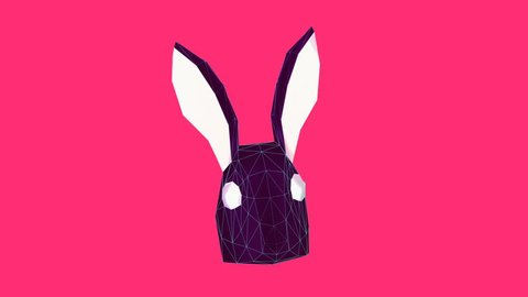 Minimal animation gif art. 3d fashion bunny face