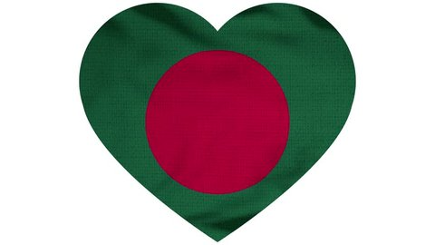 Bangladesh Heart Flag Loop - Realistic 3D Illustration 4K - 60 fps flag of the Bangladesh - waving in the wind. Seamless loop with highly detailed fabric texture. Loop ready in 4k resolution