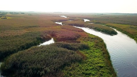 top view of wetland, High aerial view of the waterways and lagoons, Aerial Backward Drift Through Swamp
