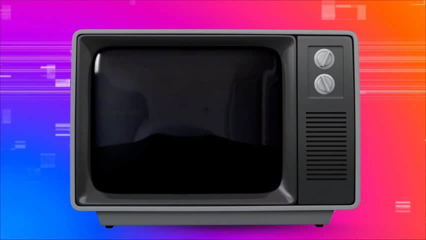 Digital animation of old TV with cityscape on the screen against colorful scrambled effect in the background | Shutterstock HD Video #1026413501