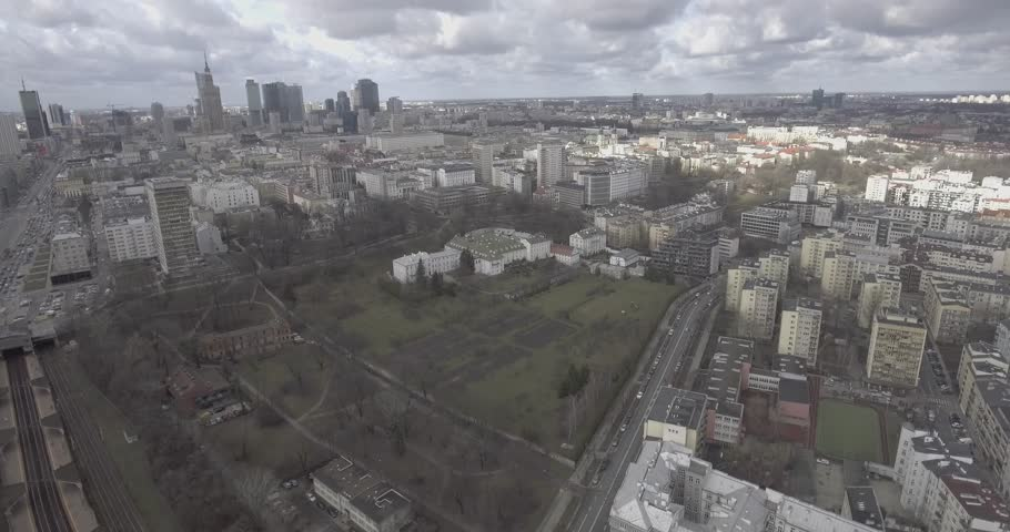 4K. Aerial view of business center with skyscrapers in Warsaw, Poland. | Shutterstock HD Video #1026418811