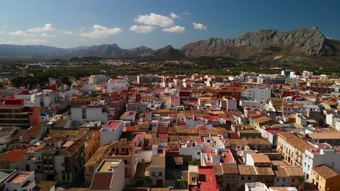 Aerial view of Ondara city in Alicante, Spain. Segaria mountain is in the background