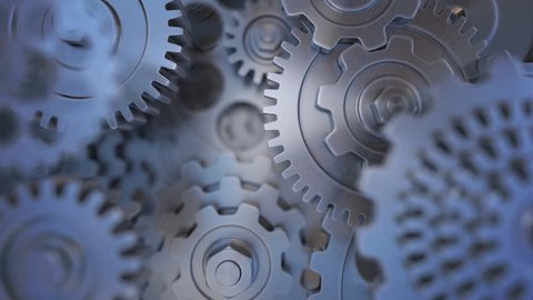 Cogs and gears rotating. Looping animation.