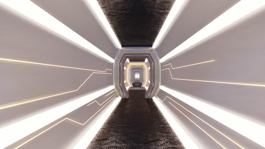 Futuristic Corridor ./Walkway in Spacecraft.-3d rendering.  | Shutterstock HD Video #1026655721