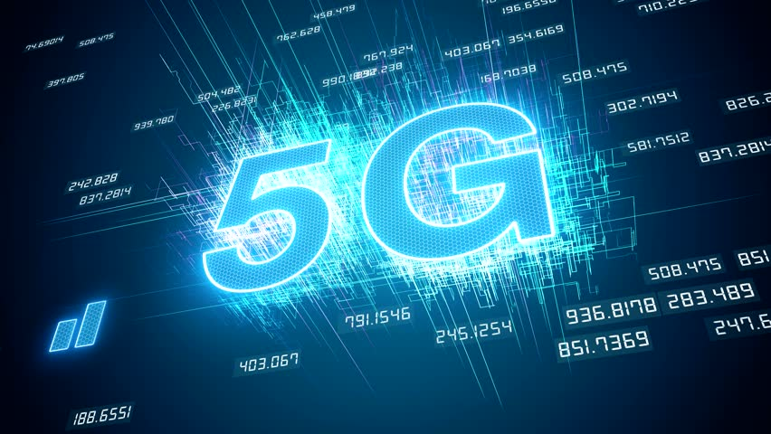 Video animation of the fast 5G mobile network on blue background