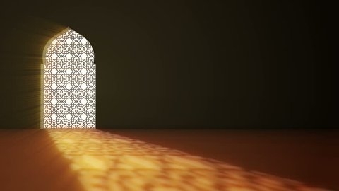 Islamic interior mosque window or door with beam of ray light coming inside . Ramadan Kareem islamic motion background. 3d animation.