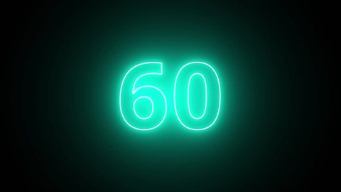 Clean neon countdown of 60 seconds motion graphics