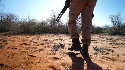 Low following shot with armed African ranger's legs in right of frame as he is identifying tracks in pursuit of poachers in the sandy bush