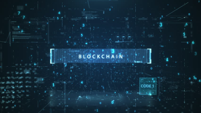 """The animated inscription """"BLOCKCHAIN"""" typing writing on digital background. Futuristic information technology concept. Digitalization of Information Flow Moving Through IT digital background. 