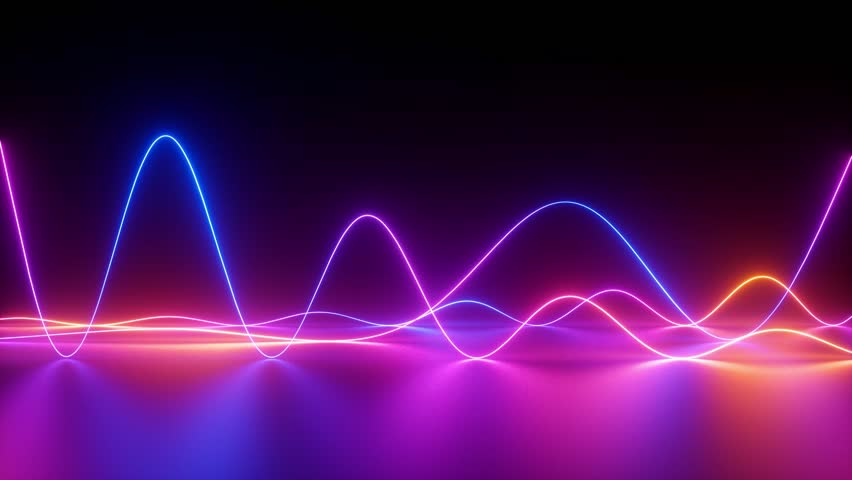 Glowing neon lines, abstract background, equalizer, signal chart, ultraviolet spectrum, laser show, impulse power, energy, chaotic waves, looped animation | Shutterstock HD Video #1026806831