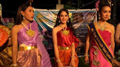Three amazing ladyboy on the waterfront in Pattaya, Suanthai. Pattaya, Thailand, 02.04.2019
