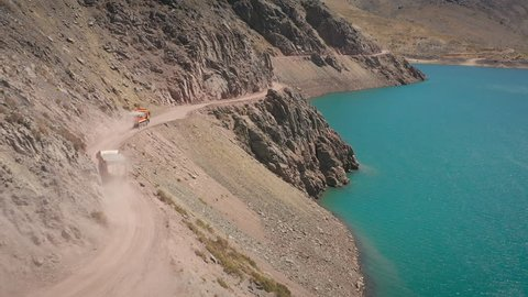 Aerial shots of Maipo reservoir and Yeso Natural Park at Santiago - Chile