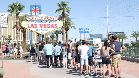 USA, Nevada / Las Vegas - Feb 10 2019: The Welcome to Fabulous Las Vegas sign is a Las Vegas landmark funded in May 1959 and erected soon after by Western Neon.