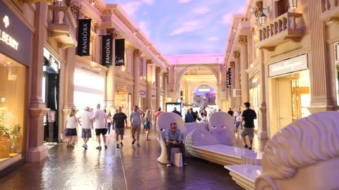 USA, Nevada / Las Vegas - Feb 11 2019: Las Vegas A shopping mall is a modern, chiefly North American, term for a form of shopping precinct or Italian style shopping center
