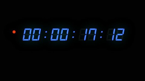 One minute of glowing led 24 fps timecode readout with blue digits and red blinking dot on black background.