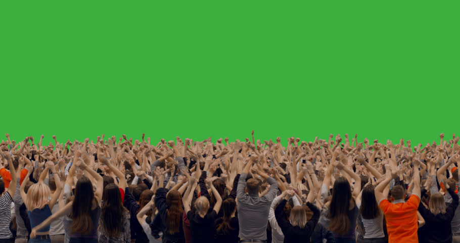 GREEN SCREEN CHROMA KEY Model released, back view of huge crowd jumping and cheering at a concert or a show. 4K UHD ProRes 4444