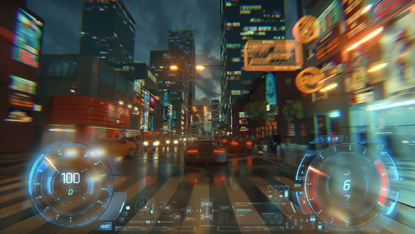 3d fake Video Game. Racing simulation. night city. lights after rain. part 1 of 2. Hud