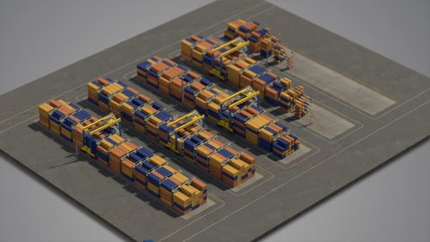 Map appearing on gray background with roads painted on map and rising pyramids of containers. Little truck appearing on map and staring moving