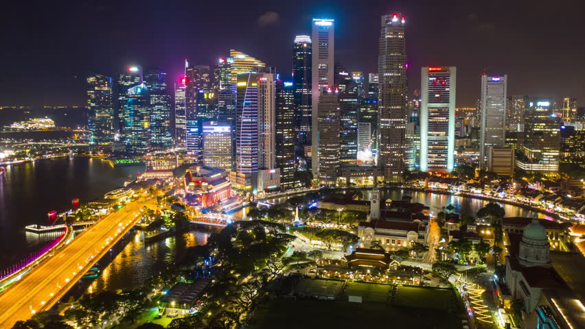 Night illumination singapore cityscape aerial panorama 4k timelapse | Shutterstock HD Video #1027032941