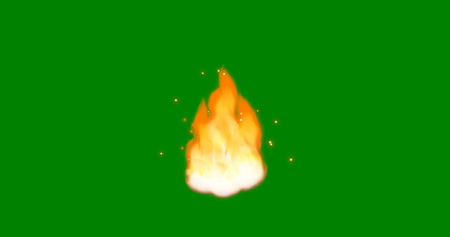 Cartoon Fire 4K. Flamethrower isolated on green screen background. Perfect for animations, digital composition 3D. | Shutterstock HD Video #1027060001